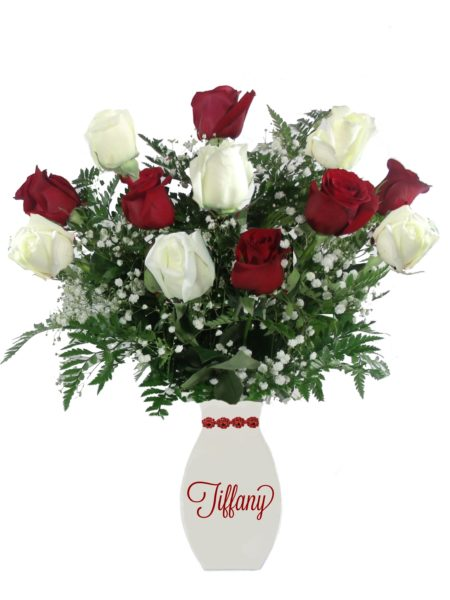 Love Letters Red & White Roses-Array of Gifts Valentine Flowers Monogram Houston Pearland