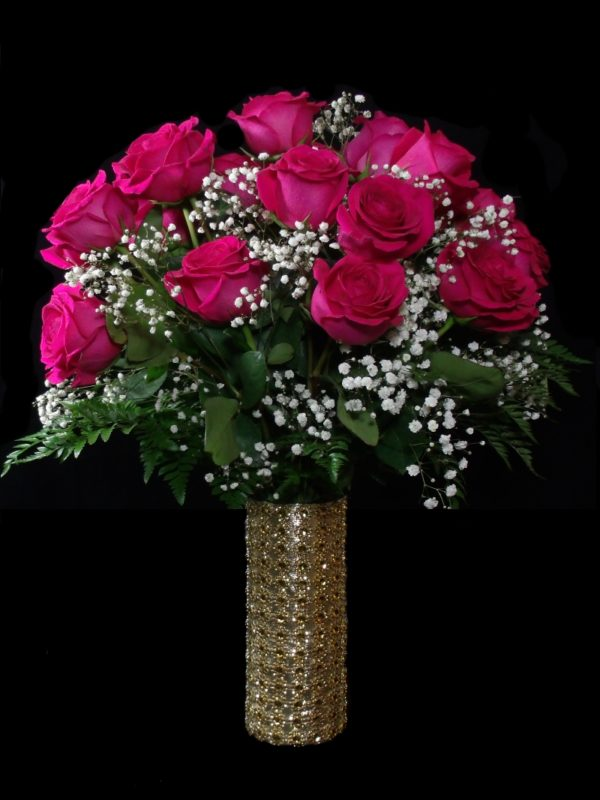 Gold Forever and Ever-Hot Pink Roses-Houston-Pearland Anniversary Flowers