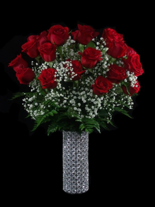 Silver Forever and Ever-Red Roses-Houston-Pearland Anniversary Flowers