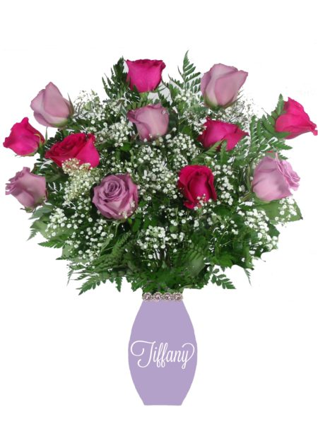 Love Letters Lavender & Hot Pink Roses-Array of Gifts Valentine Jut Because Flowers Monogram Houston Pearland Tx