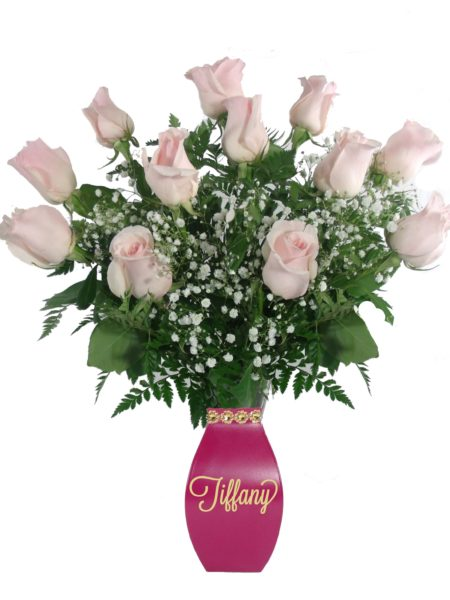 Love Letters light pink roses-Array of Gifts Flowers Monogram Houston Pearland Tx
