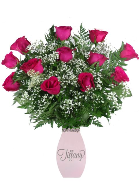 Love Letters Hot Pink Roses-Array of Gifts Flowers Monogram Houston Pearland