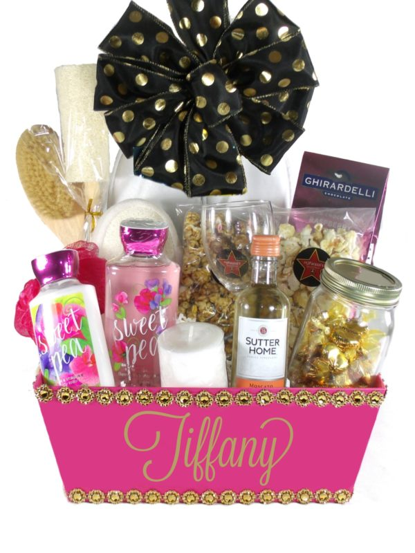 Tickled Pink(Large) White Bow-Houston Gift Baskets Delivery