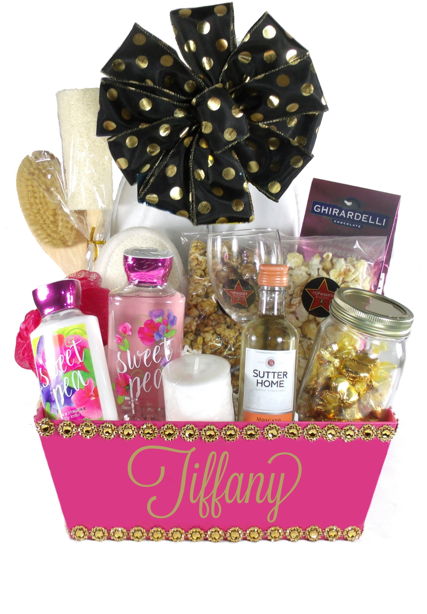 Tickled Pink(Large) White Bow-Houston Gift Baskets Delivery  sc 1 st  Array of Gifts & Array of Gifts-Monogrammed Gift Basket Delivery in Houston