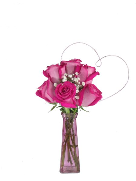 Heart to Heart Hot Pink Roses-Array of Gifts Valentine Day Flowers Houston Pearland Delivery