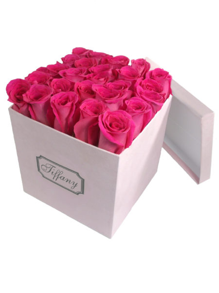 Pink Box with Hot Pink Roses-Array of Gifts Valentine Flower Gift Box Houston Texas