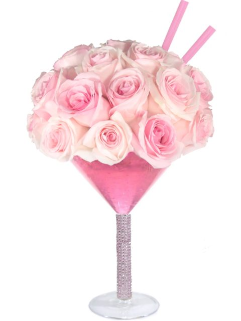 Pretty in Pink Martini-Array of Gifts Cocktail Happy Hour Valentine Day Flowers Houston Delivery