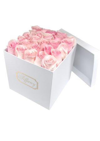 White Box with Pink Roses)-Array of Gifts Valentine Flower Gift Box Houston Texas