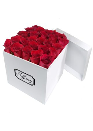 White Box with Red Roses-Array of Gifts Valentine Flower Gift Box Houston Pearland Texas