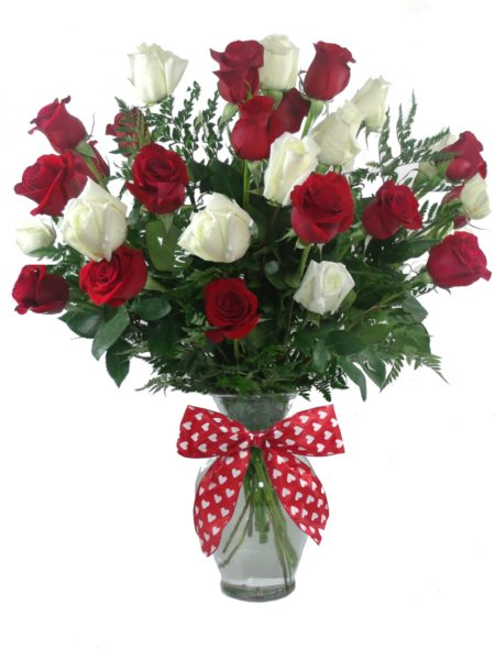 True Love Red & White Roses-Houston Pearland Florist Valentine Cheap Flower Delivery