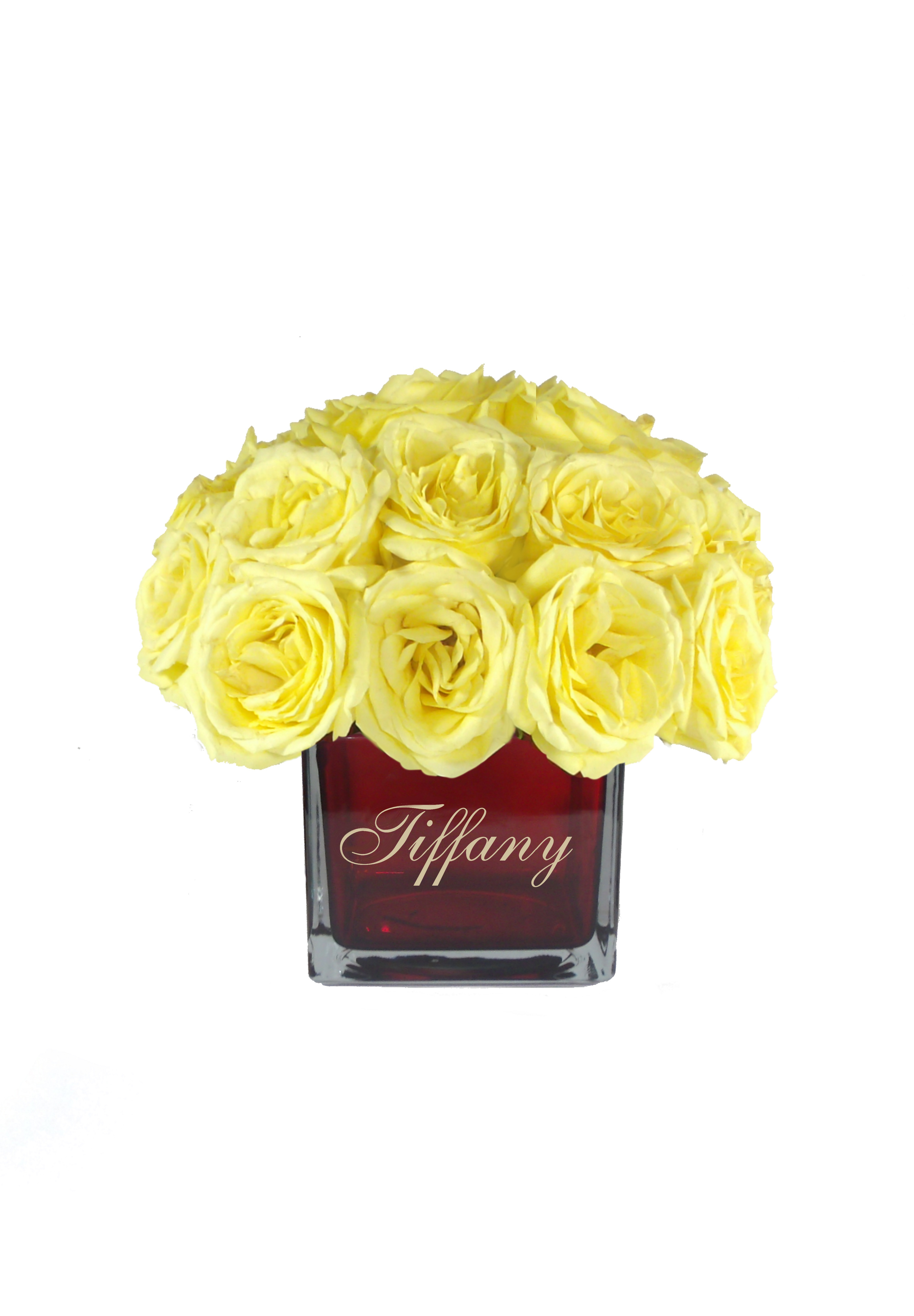 Monogrammed Personalized Vase With Yellow Roses Flower Arrangement