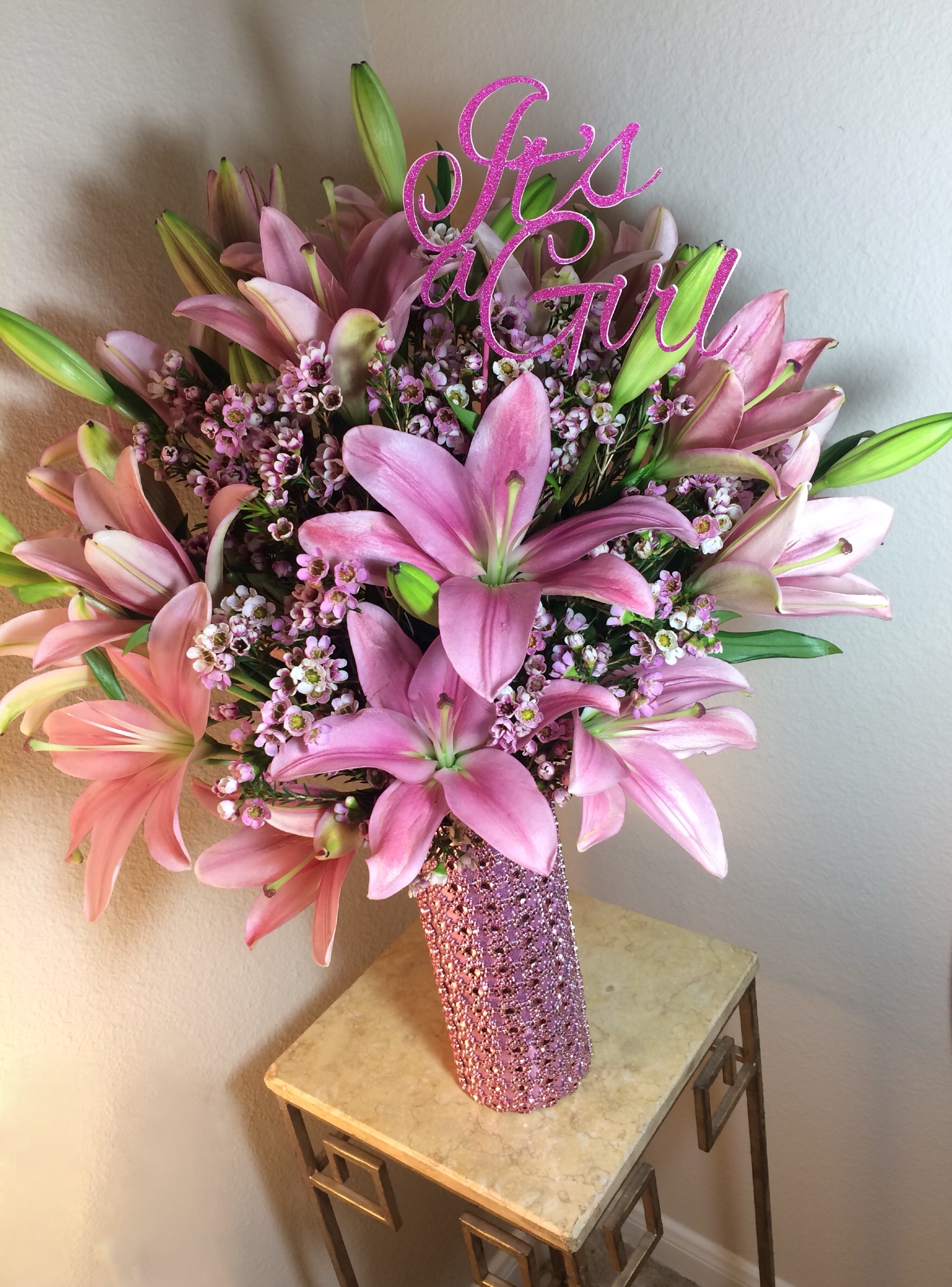 Its a girl array of gifts its a girl new baby flowers baby shower pink lilies houston pearland texas florist delivery izmirmasajfo