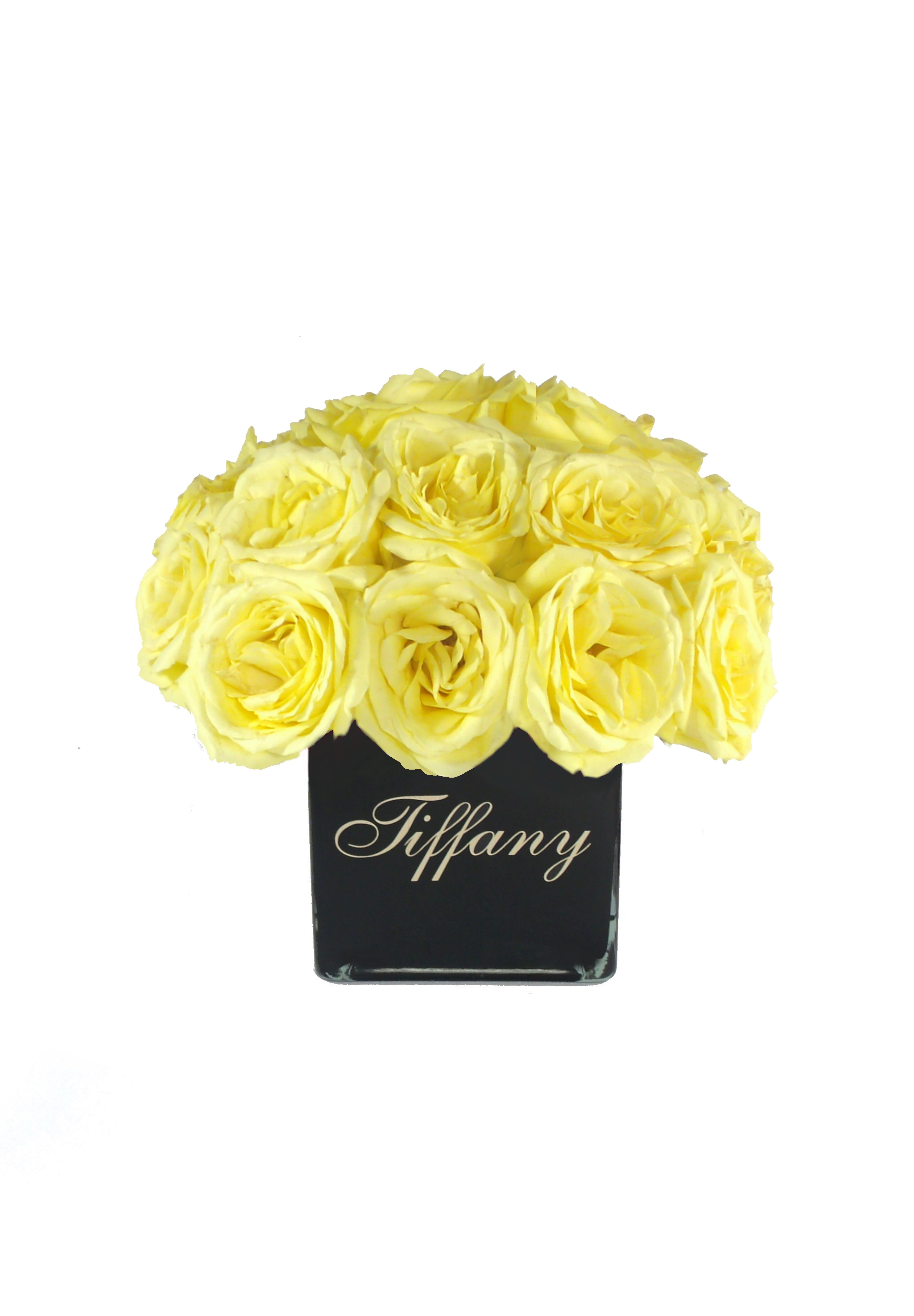 Love Cubeblack Vase Wyellow Roses Array Of Gifts