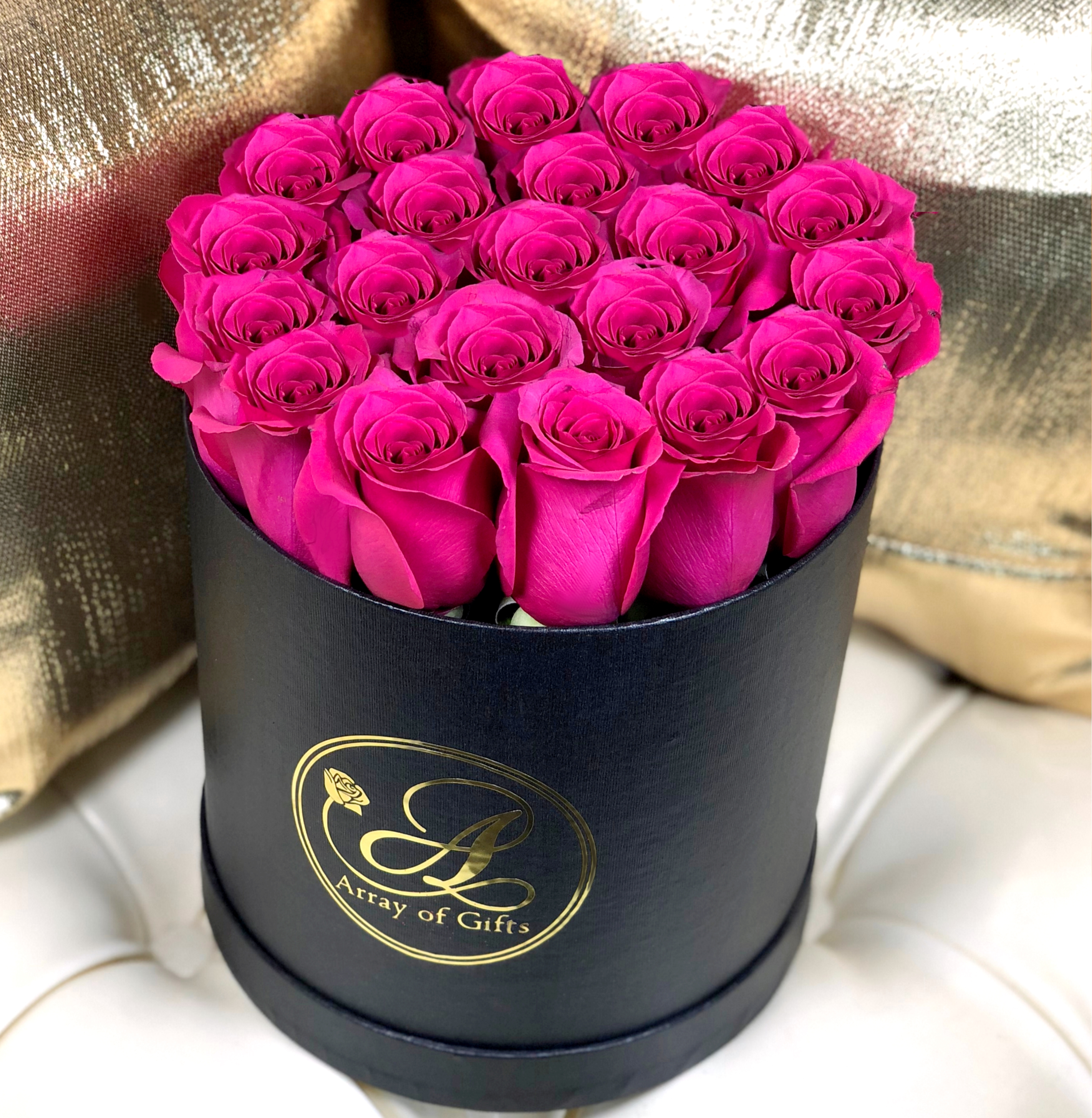 Round Black Box With Hot Pink Roses Array Of Gifts Luxury Flower Houston Texas