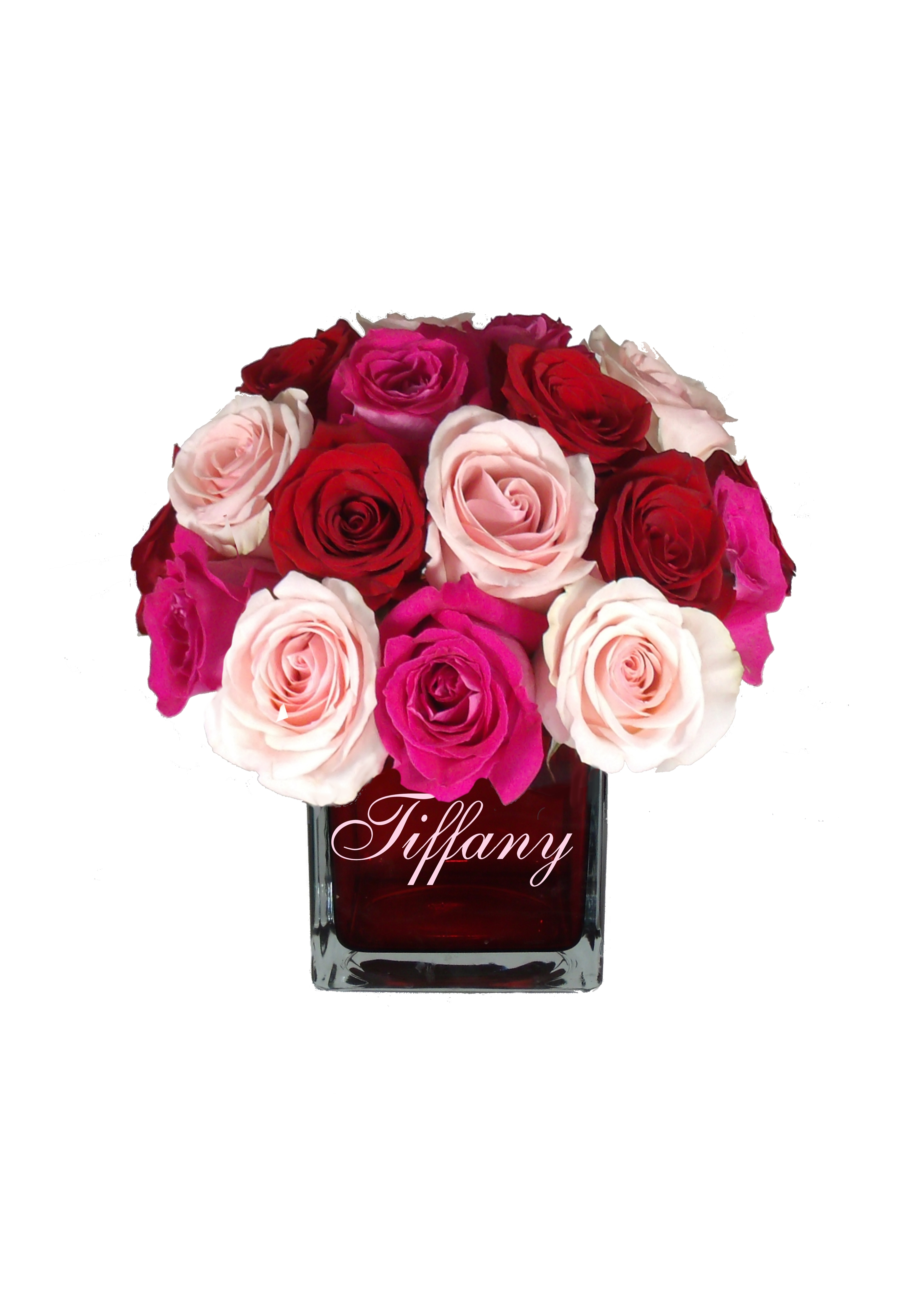 Love Cube Red Vase W Assorted Roses