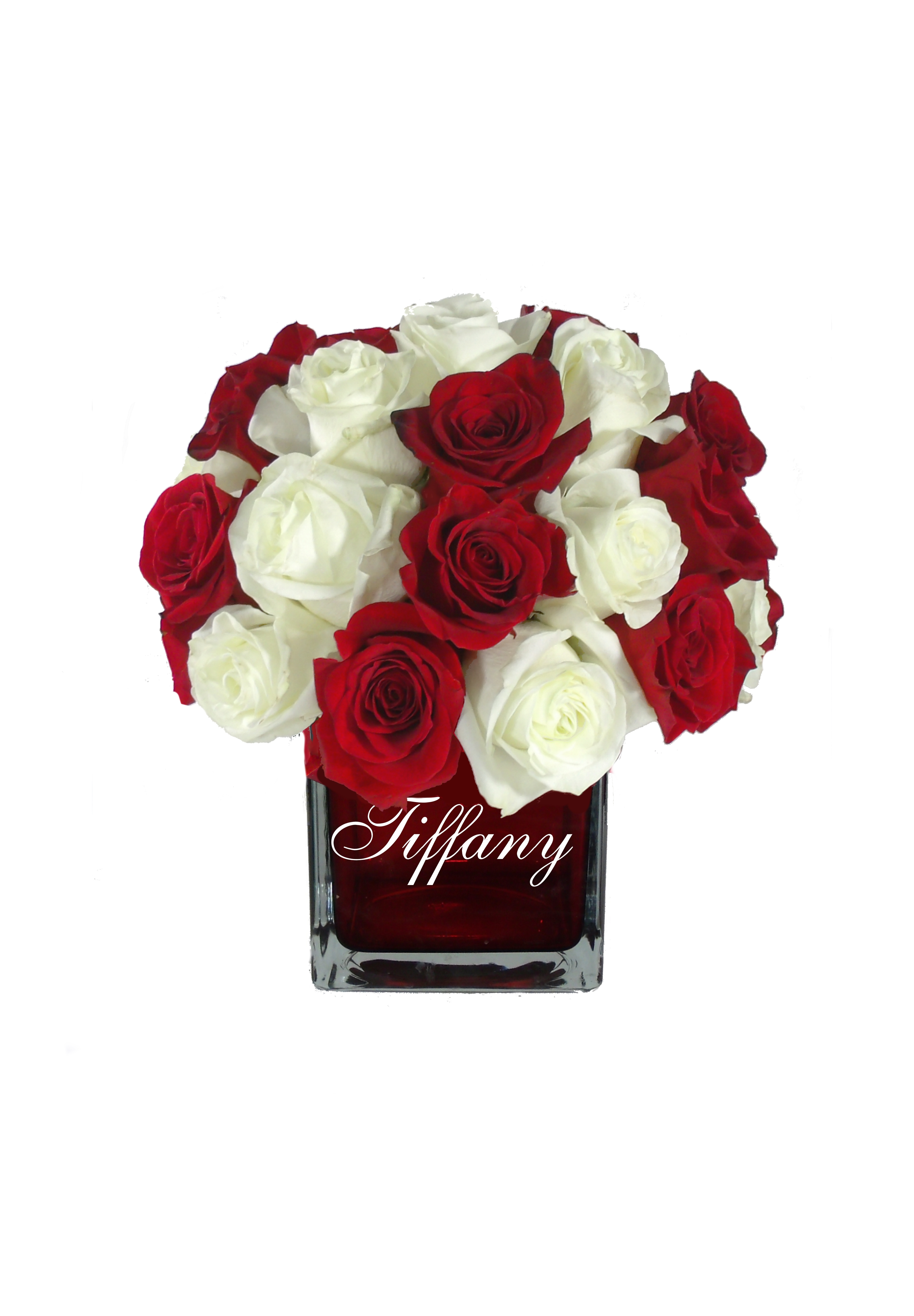 Monogrammed Personalized Vase With Red Roses Flower Arrangement