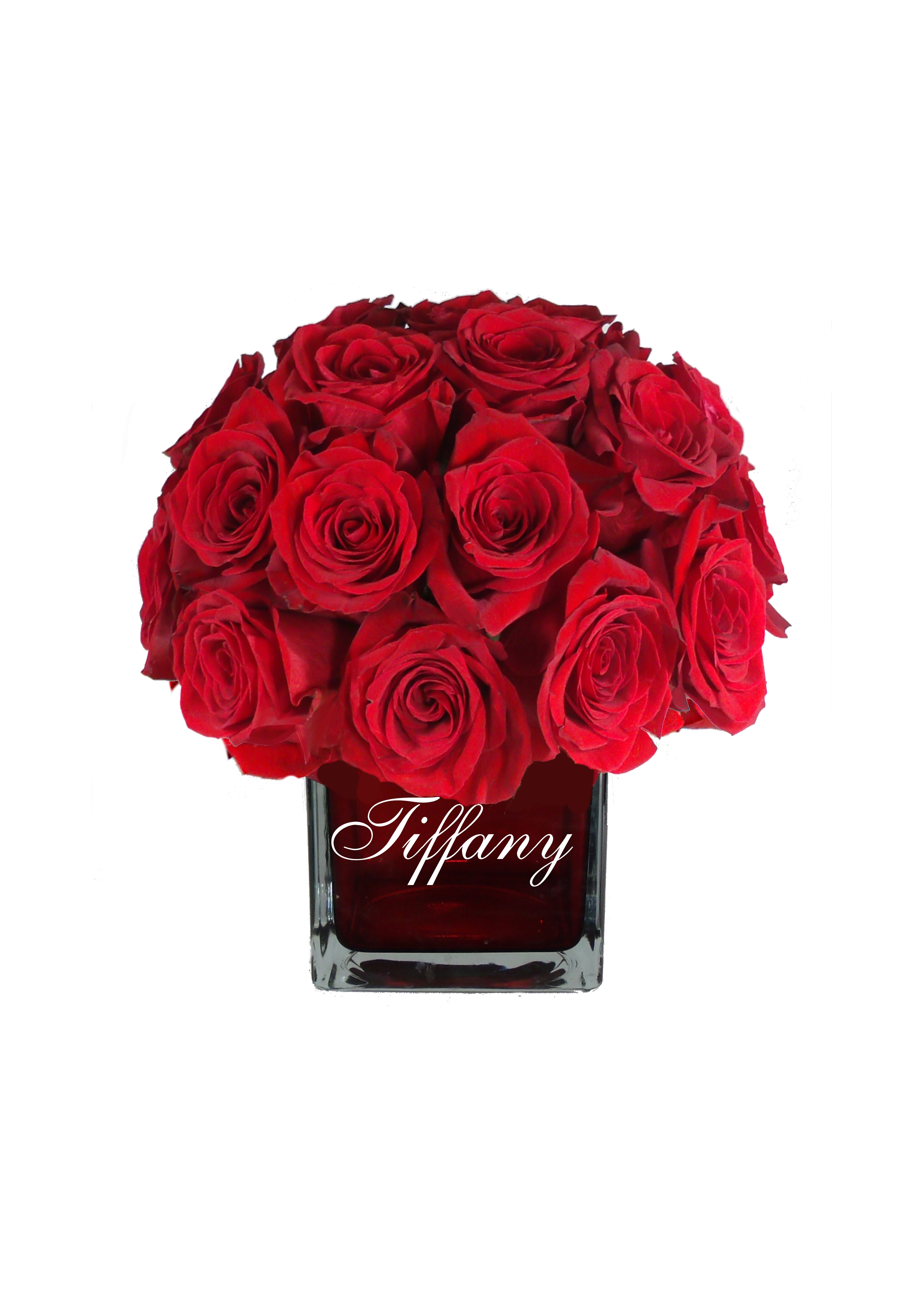 Love Cube Red Vase W Red Roses