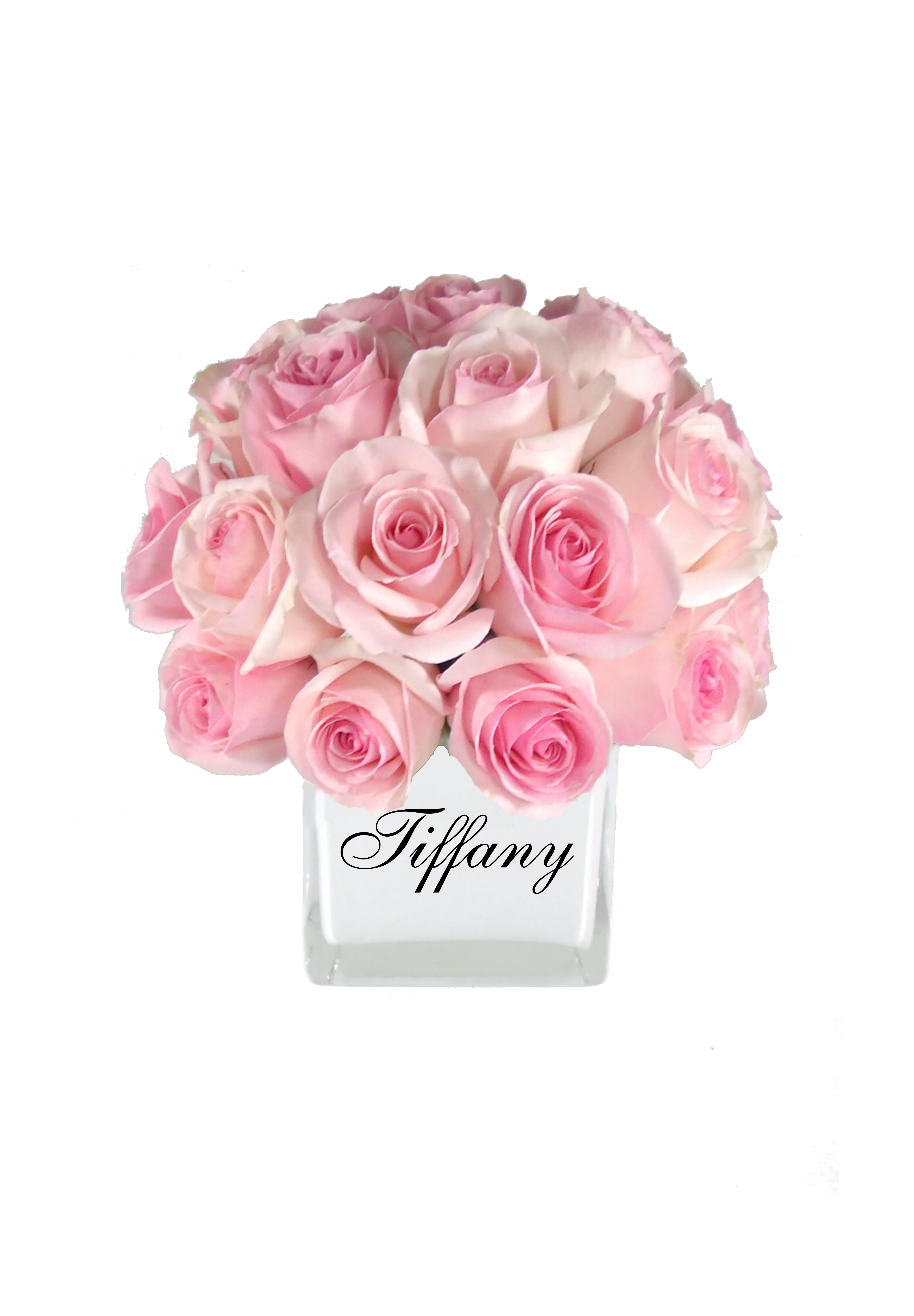 Monogrammed Personalized Vase With Light Pink Roses Flower
